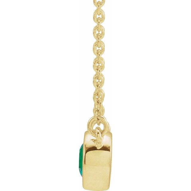 14K Yellow Chatham® Created Emerald & .02 CTW Diamond 16
