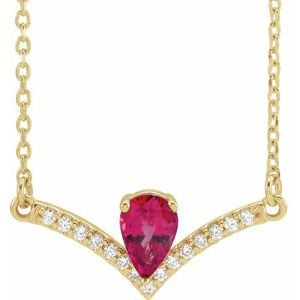"14K Yellow Chatham® Lab-Created Ruby & .06 CTW Diamond 16"" Necklace"