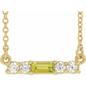 "14K Yellow Peridot & 1/5 CTW Diamond 16"" Necklace"