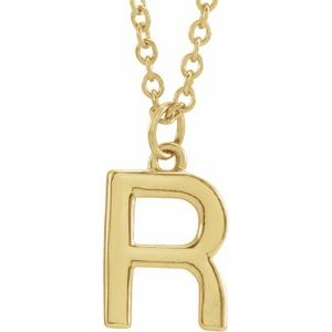 "14K Yellow Initial R Dangle 18"" Necklace"