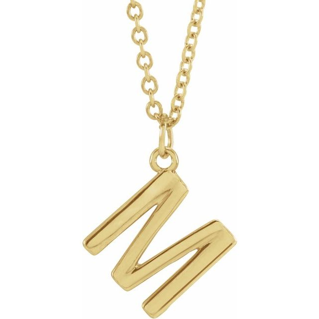 18K Yellow Gold-Plated Sterling Silver Initial M  Dangle 16