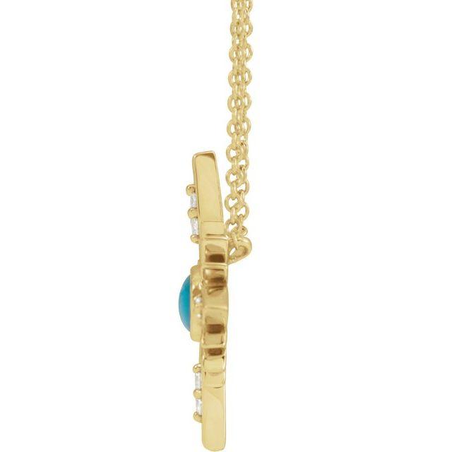 14K Yellow Turquoise & .08 CTW Diamond Celestial 16-18