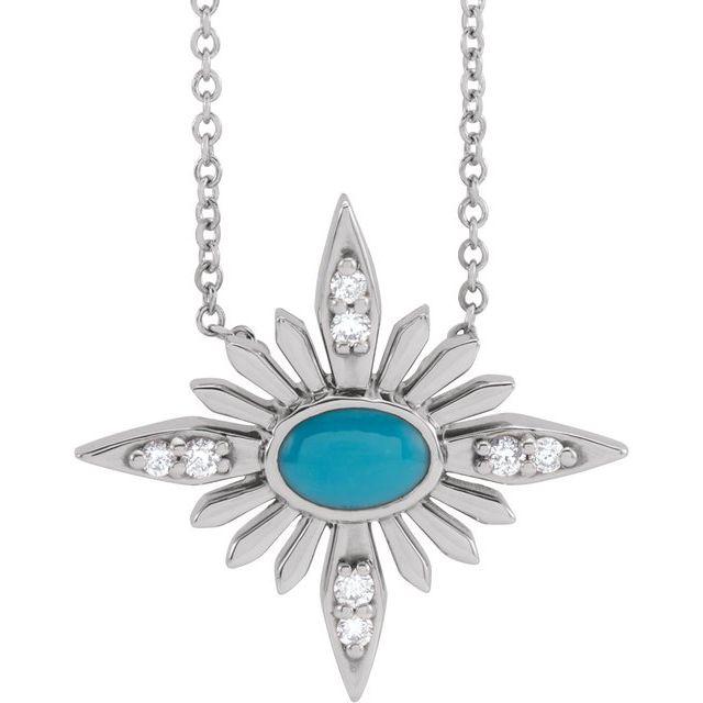 14K White Turquoise & .08 CTW Diamond Celestial 16-18