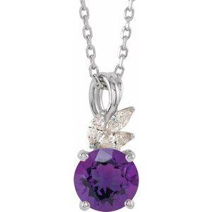 "14K White Amethyst & 1/10 CTW Diamond 16-18"" Necklace"