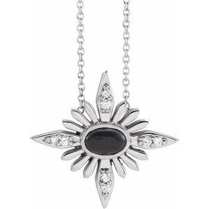 "14K White Onyx & .08 CTW Diamond Celestial 16-18"" Necklace"