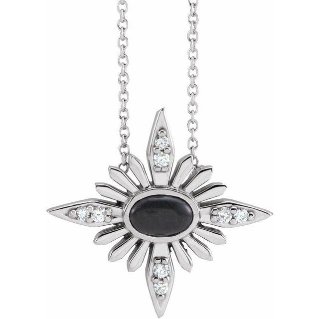 14K White Onyx & .08 CTW Diamond Celestial 16-18