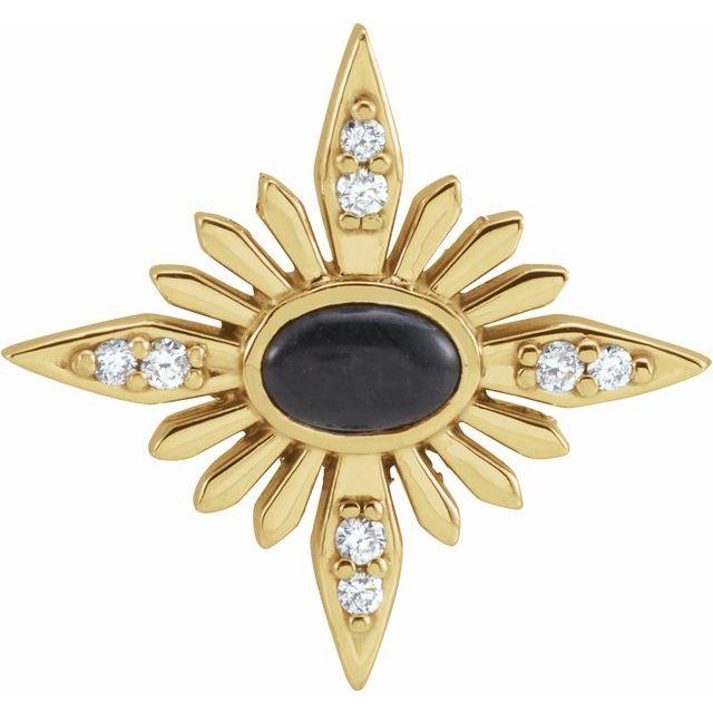 14K Yellow Onyx & .08 CTW Diamond Celestial Pendant