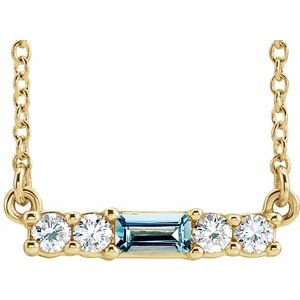 "14K Yellow Aquamarine & 1/5 CTW Diamond 16"" Necklace"