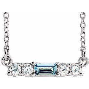 "14K White Aquamarine & 1/5 CTW Diamond 18"" Necklace"