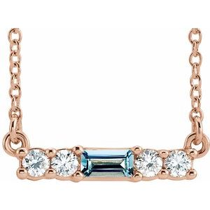 """14K Rose Aquamarine & 1/5 CTW Diamond 16"""" Necklace"""