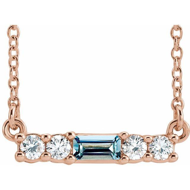 14K Rose Natural Aquamarine & 1/5 CTW Natural Diamond 16