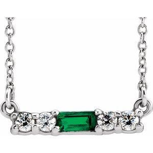 "14K White Chatham® Created Emerald & 1/5 CTW Diamond 16"" Necklace"