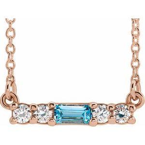 "14K Rose Blue Zircon & 1/5 CTW Diamond 16"" Necklace"