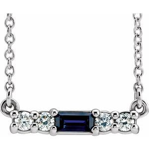 "14K White Chatham® Created Blue Sapphire & 1/5 CTW Diamond 16"" Necklace"