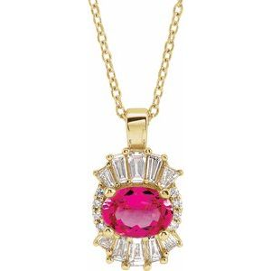 "14K Yellow Pink Tourmaline & 1/3 CTW Diamond 16-18"" Necklace"