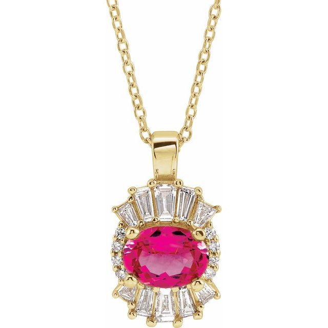 14K Yellow Pink Tourmaline & 1/3 CTW Diamond 16-18