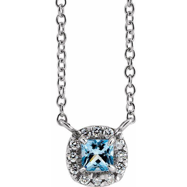 14K White 4x4 mm Square Aquamarine & .05 CTW Diamond 18