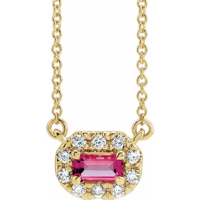 14K Yellow 5x3 mm Emerald Pink Tourmaline & 1/8 CTW Diamond 18