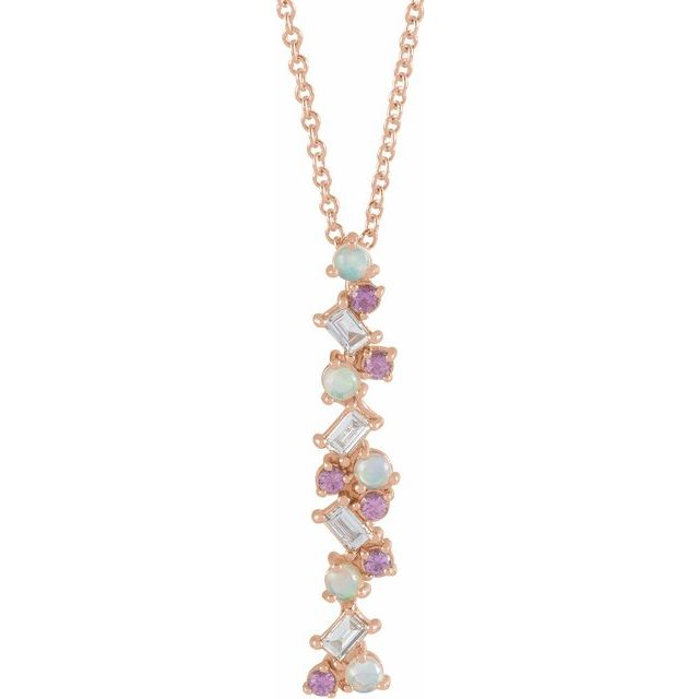 14K Rose Ethiopian Opals, Pink Sapphires & 1/8 CTW Diamond Scattered Bar 16-18