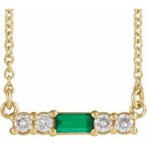 "14K Yellow Emerald & 1/5 CTW Diamond 16"" Necklace"