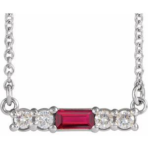 "14K White Chatham® Created Ruby & 1/5 CTW Diamond 16"" Necklace"
