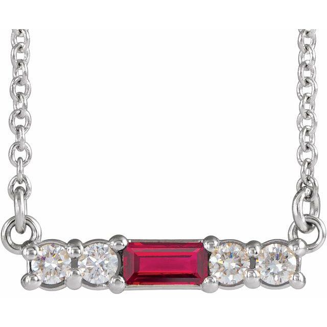 14K White Chatham® Created Ruby & 1/5 CTW Diamond 16