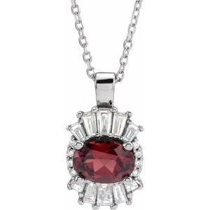 "14K White Mozambique Garnet & 1/3 CTW Diamond 16-18"" Necklace"