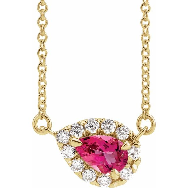 14K Yellow 6x4 mm Pear Pink Tourmaline & 1/6 CTW Diamond 18