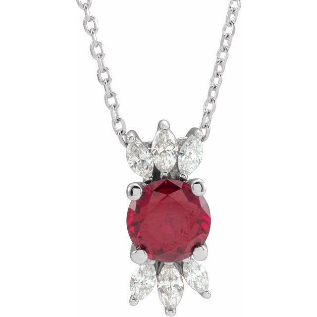 14K White Lab-Grown Ruby & 1/5 CTW Diamond 16-18