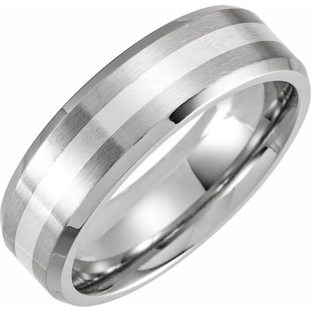 Cobalt 7 mm Beveled Edge Band with Sterling Silver Inlay Size 10.5