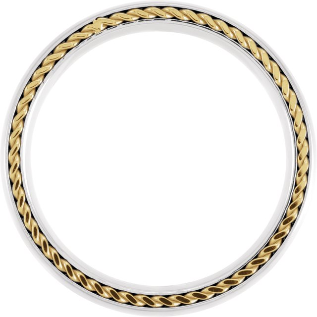 Titanium 6 mm Domed Band with Yellow Gold PVD Steel Rope Inlay Size 10