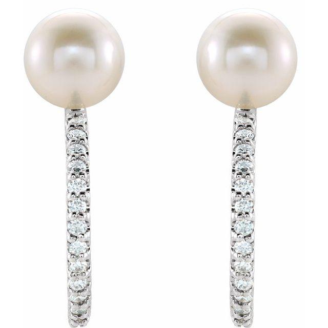 14K White Freshwater Cultured Pearl & 1/6 CTW Diamond Hoop Earrings