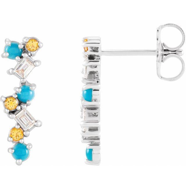 14K White Turquoise, Honey Topaz & 1/10 CTW Diamond Scattered Bar Earrings