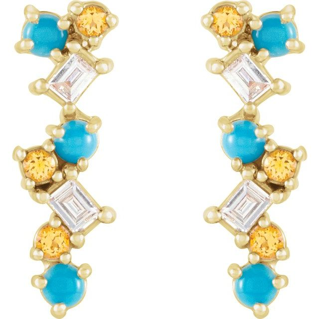 14K Yellow Turquoise, Honey Topaz & 1/10 CTW Diamond Scattered Bar Earrings