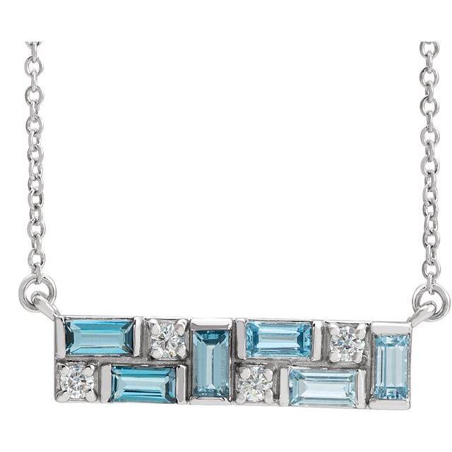 14K White Blue Multi-Gemstone & 1/8 CTW Diamond Bar 18