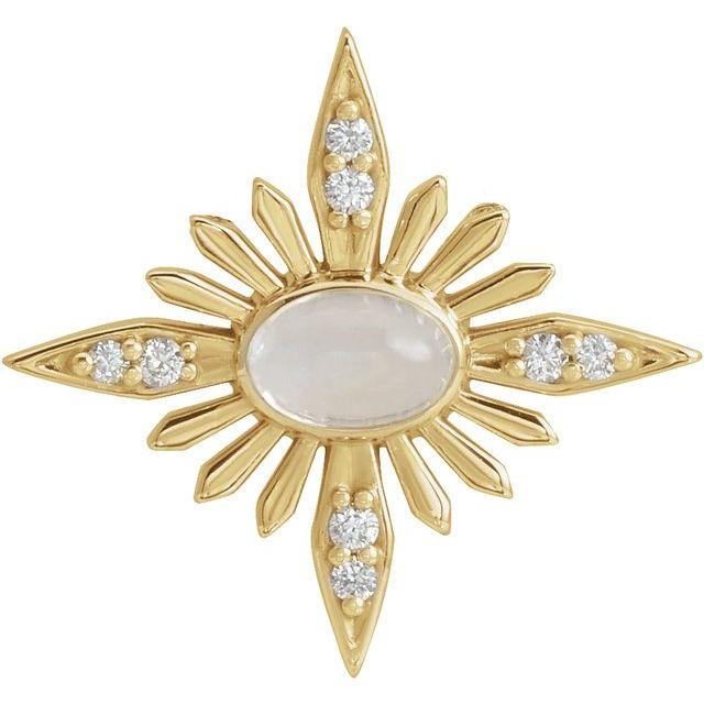 14K Yellow Rainbow Moonstone & .08 CTW Diamond Celestial Pendant