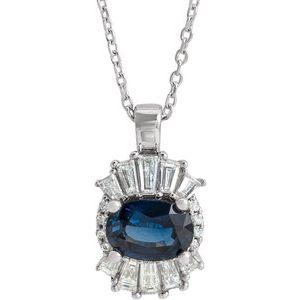 "14K White Blue Sapphire & 1/3 CTW Diamond 16-18"" Necklace"