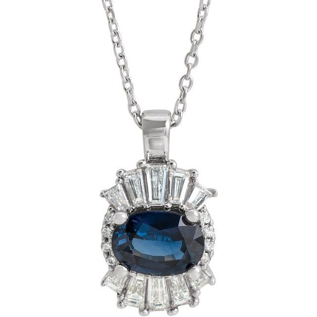 14K White Blue Sapphire & 1/3 CTW Diamond 16-18