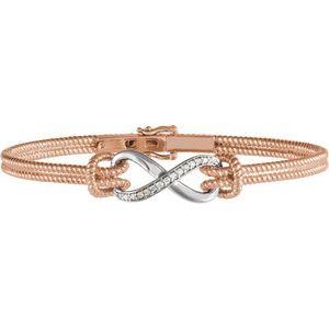 "14K Rose & White 1/8 CTW Diamond Bangle 7.5"" Bracelet"