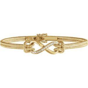 "14K Yellow 1/8 CTW Diamond Bangle 7.5"" Bracelet"