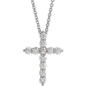 "14K White 17.8x12.9 mm 3/8 CTW Diamond Cross 16-18"" Necklace"
