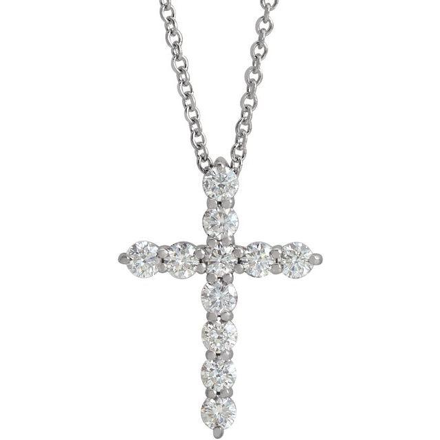 14K White 17.8x12.9 mm 3/8 CTW Diamond Cross 16-18