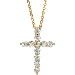 "14K Yellow 17.8x12.9 mm 3/8 CTW Diamond Cross 16-18"" Necklace"