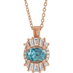 "14K Rose Blue Zircon & 1/3 CTW Diamond 16-18"" Necklace"