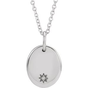 "14K White .005 CT Diamond Starburst 16-18"" Necklace"