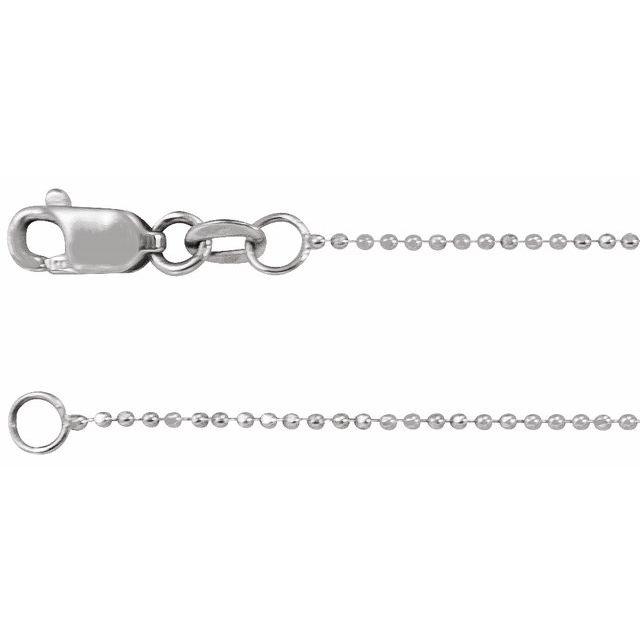 14K White 1mm Diamond-Cut Bead 18