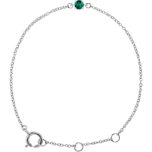 14K White Imitation Emerald Youth Birthstone 4 1/2-5 1/2