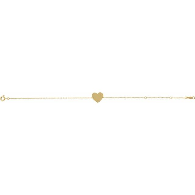 18K Yellow Gold-Plated Sterling Silver Heart 7-8