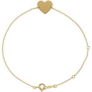 """14K Yellow Heart 7-8"""" Bracelet"""