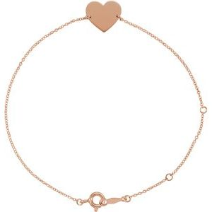 "18K Rose Gold-Plated Sterling Silver Heart 7-8"" Bracelet"